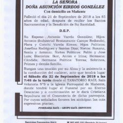 DOÑA ASUNCION EIREOS GONZALEZ