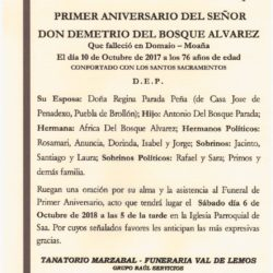 PRIMER ANIVERSARIO DE DON DEMETRIO DEL BOSQUE ALVAREZ