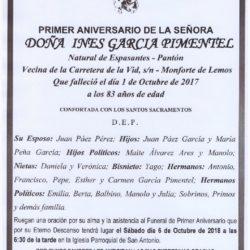 PRIMER ANIVERSARIO DE DOÑA INES GARCIA PIMENTEL