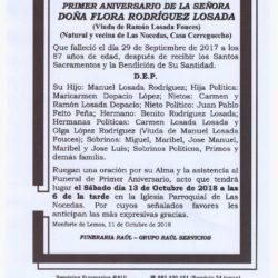 PRIMER ANIVERSARIO DE DOÑA FLORA RODRIGUEZ LOSADA