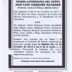 PRIMER ANIVERSARIO DE DON LUIS VAZQUEZ ALVAREZ