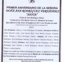 PRIMER ANIVERSARIO DE DOÑA ANA RODRIGUEZ FERNANDEZ