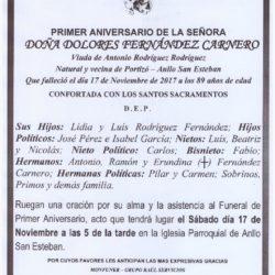PRIMER ANIVERSARIO DE DOÑA DOLORES FERNANDEZ CARNERO