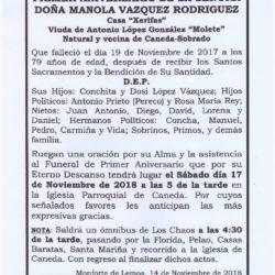 PRIMER ANIVERSARIO DE DOÑA MANOLA VAZQUEZ RODRIGUEZ