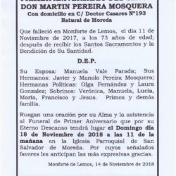 PRIMER ANIVERSARIO DE DON MARTIN PEREIRA MOSQUERA