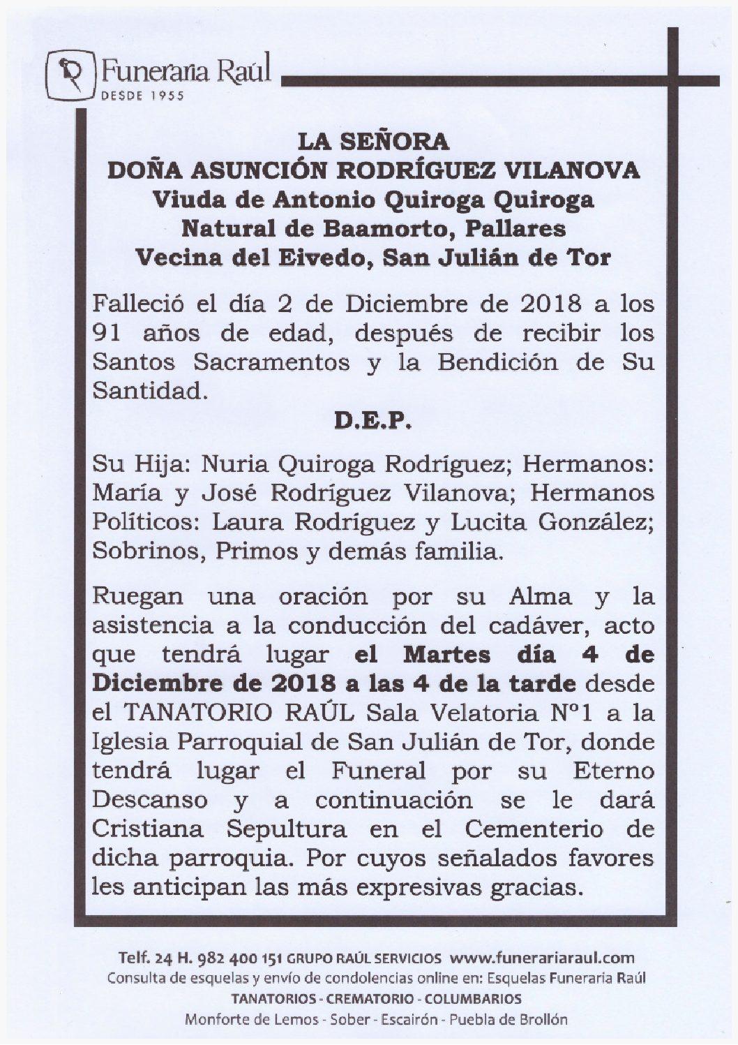 DOÑA ASUNCION RODRÍGUEZ VILANOVA