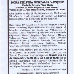 PRIMER ANIVERSARIO DE DOÑA DELFINA GONZALEZ VAZQUEZ