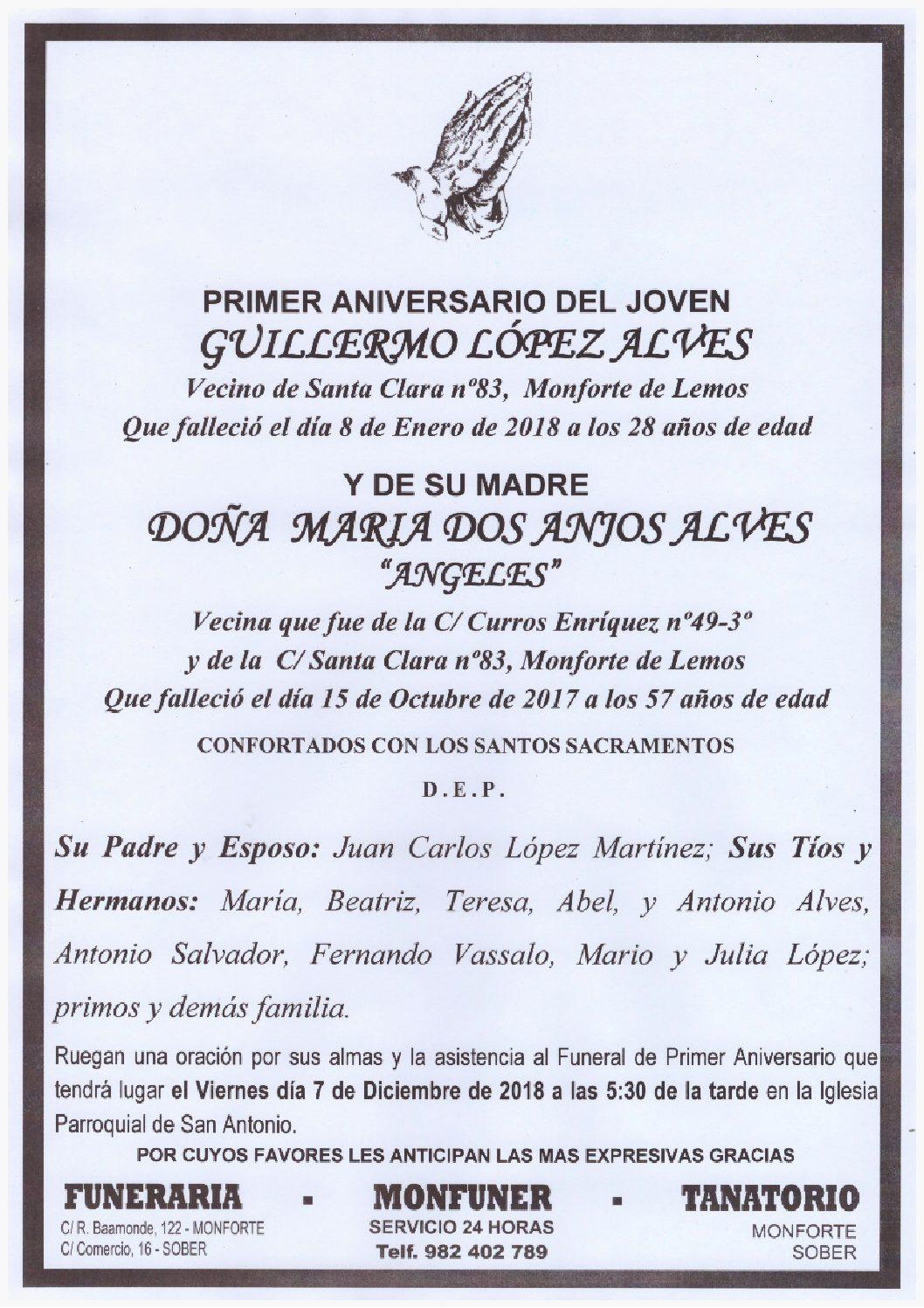 PRIMER ANIVERSARIO DE GUILLERMO LOPEZ Y MARIA DOS ANJOS