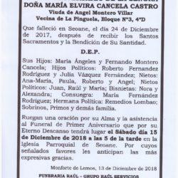 PRIMER ANIVERSARIO DE DOÑA Mª ELVIRA CANCELA CASTRO