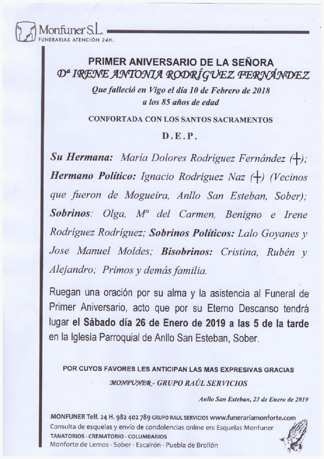 PRIMER ANIVERSARIO DE DOÑA IRENE ANTONIA RODRIGUEZ FERNANDEZ
