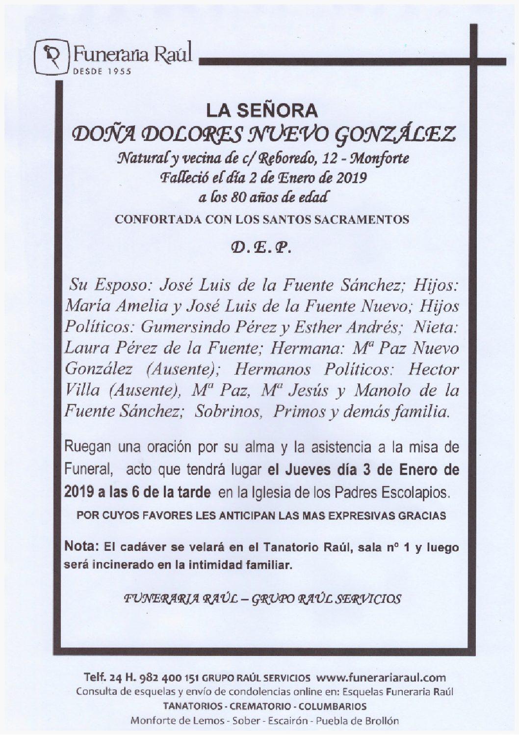 Doña Dolores Nuevo Gonzalez Funeraria Raul