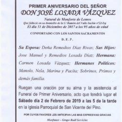 PRIMER ANIVERSARIO DEL SEÑOR DON JOSE LOSADA VAZQUEZ