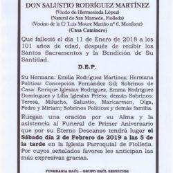 PRIMER ANIVERSARIO DE DON SALUSTIO RODRIGUEZ MARTINEZ