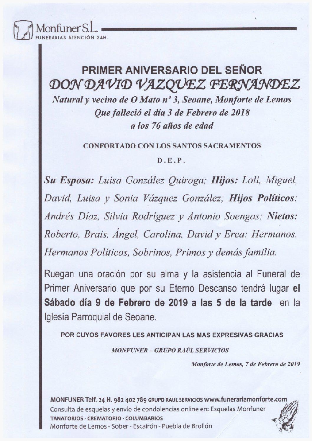 PRIMER ANIVERSARIO DE DON DAVID VAZQUEZ FERNANDEZ
