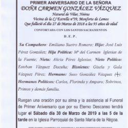 PRIMER ANIVERSARIO DE DOÑA CARMEN GONZALEZ VAZQUEZ