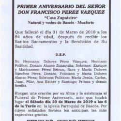 PRIMER ANIVERSARIO DE DON FRANCISCO PEREZ VAZQUEZ