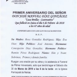 PRIMER ANIVERSARIO DE DON JOSE MANUEL DIAZ GONZALEZ