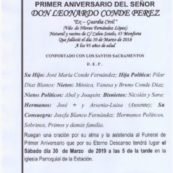 PRIMER ANIVERSARIO DE DON LEONARDO CONDE PEREZ
