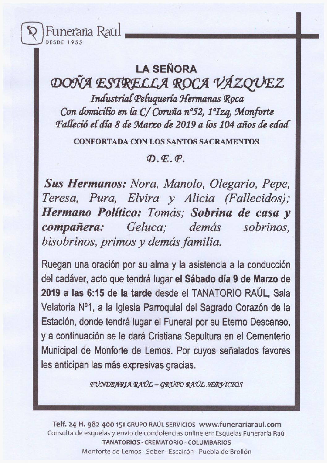 DOÑA ESTRELLA ROCA VAZQUEZ