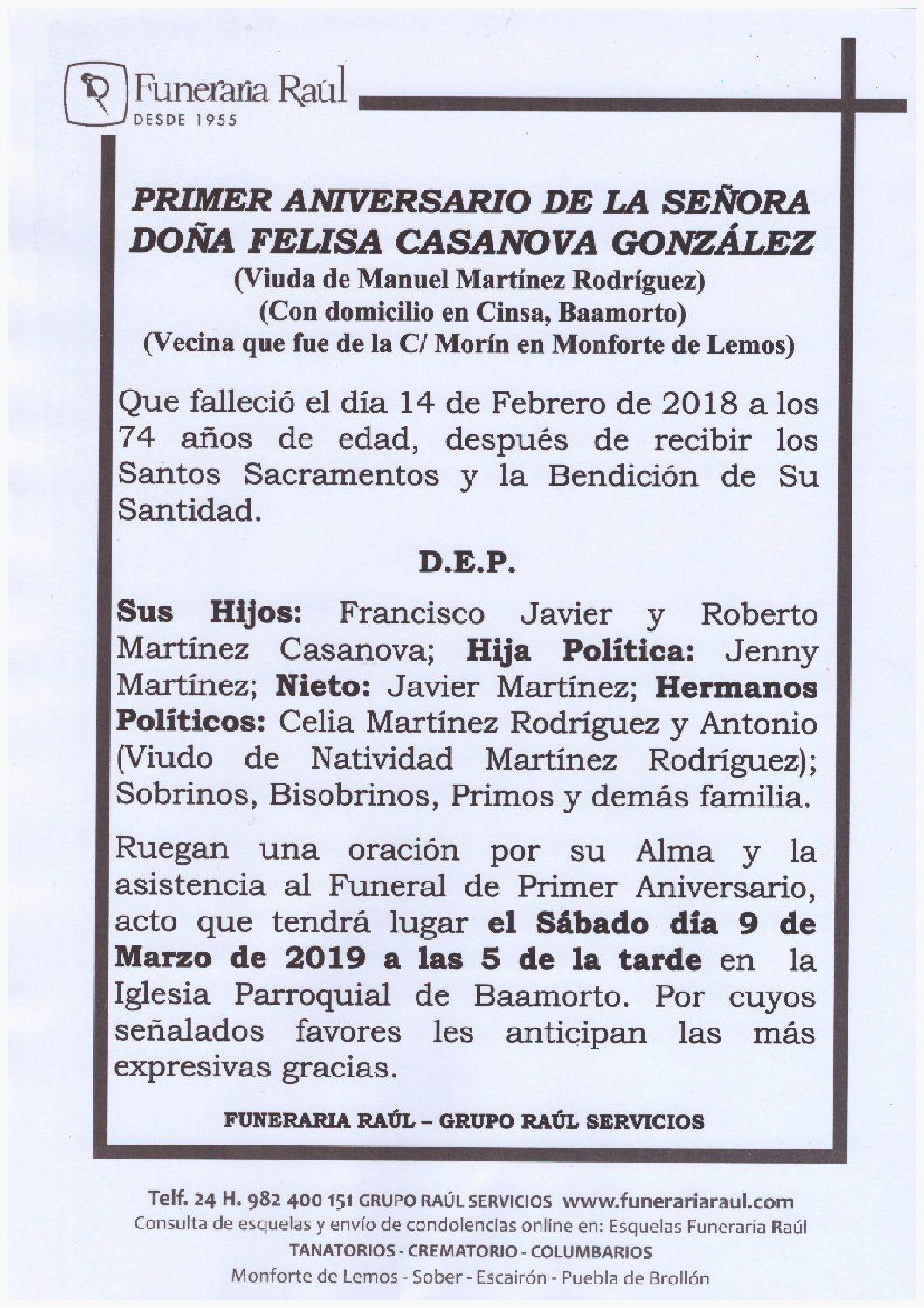 PRIMER ANIVERSARIO DE DOÑA FELISA CASANOVA GONZALEZ