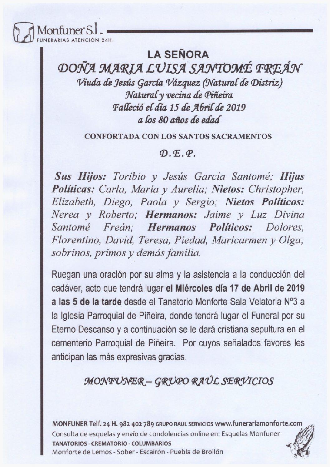 DOÑA MARIA LUISA SANTOME FREAN