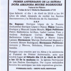 PRIMER ANIVERSARIO DE DOÑA AMADORA MOURE RODRIGUEZ