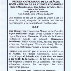 PRIMER ANIVERSARIO DE DOÑA AVELINA DE LA FUENTE RODRIGUEZ