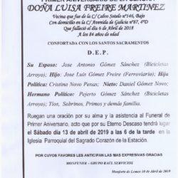PRIMER ANIVERSARIO DE DOÑA LUISA FREIRE MARTINEZ