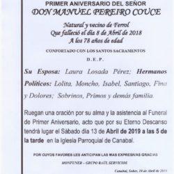 PRIMER ANIVERSARIO DE DON MANUEL PEREIRO COUCE