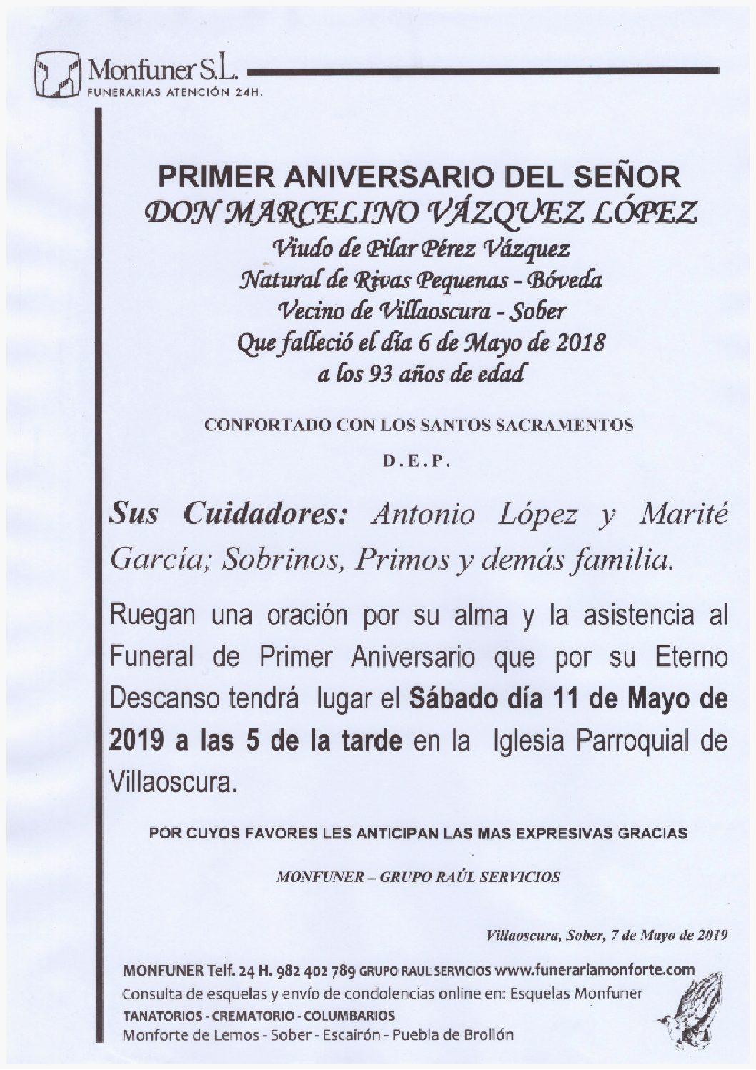 PRIMER ANIVERSARIO DE DON MARCELINO VAZQUEZ LOPEZ