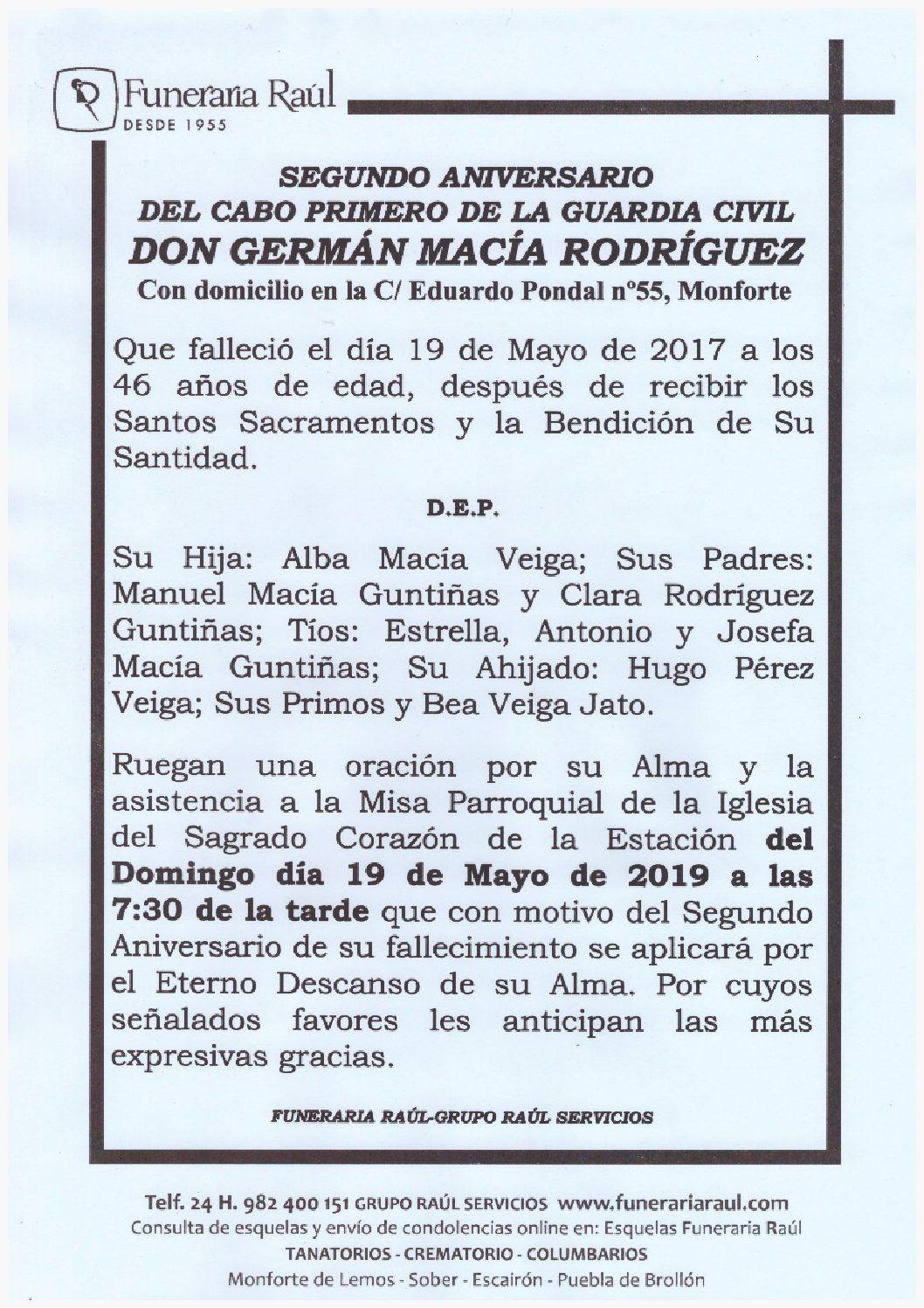 SEGUNDO ANIVERSARIO DE DON GERMÁN MACÍA RODRÍGUEZ