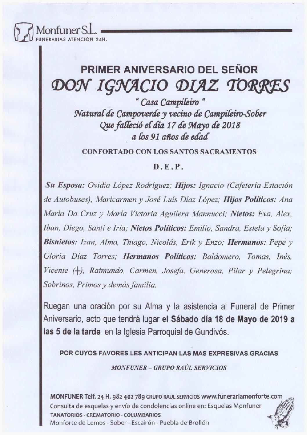 PRIMER ANIVERSARIO DE DON IGNACIO DIAZ TORRES
