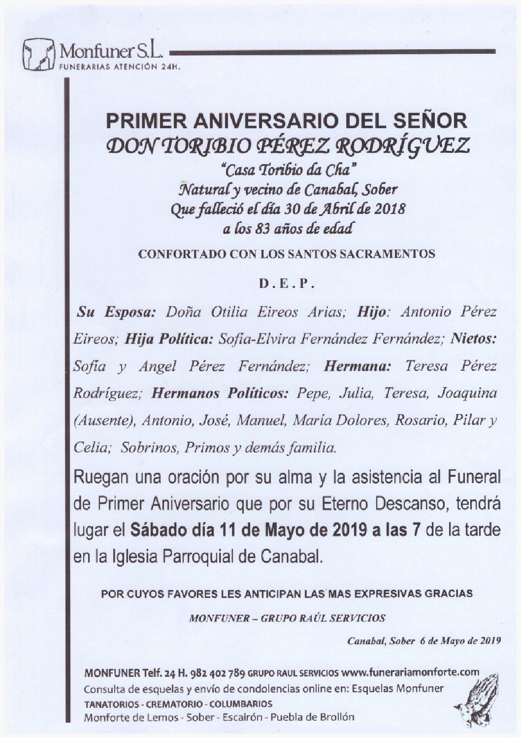PRIMER ANIVERSARIO DE DON TORIBIO PEREZ RODRIGUEZ