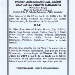 PRIMER ANIVERSARIO DE DON DAVID PRIETO CASANOVA