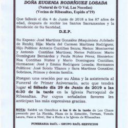 PRIMER ANIVERSARIO DE DOÑA EUGENIA RODRIGUEZ LOSADA