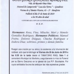DOÑA GLORIA GONZALEZ RODRIGUEZ