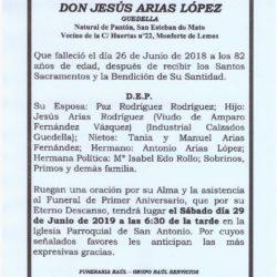 PRIMER ANIVERSARIO DE DON JESUS ARIAS LOPEZ