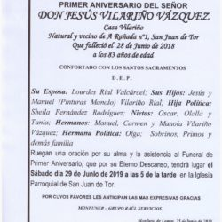 PRIMER ANIVERSARIO DE DON JESUS VILARIÑO VAZQUEZ