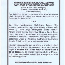 PRIMER ANIVERSARIO DE DON JOSE RODRIGUEZ RODRIGUEZ