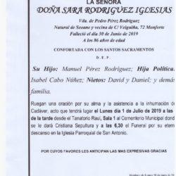 DOÑA SARA RODRIGUEZ IGLESIAS