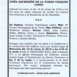 DOÑA ASCENSION DE LA TORRE VAZQUEZ