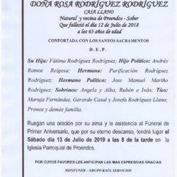 PRIMER ANIVERSARIO DE DOÑA ROSA RODRIGUEZ RODRIGUEZ