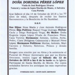 PRIMER ANIVERSARIO DE DOÑA DORINDA PEREZ LOPEZ