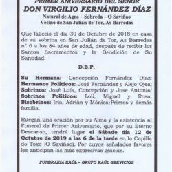 PRIMER ANIVERSARIO DE DON VIRGILIO FERNANDEZ DIAZ