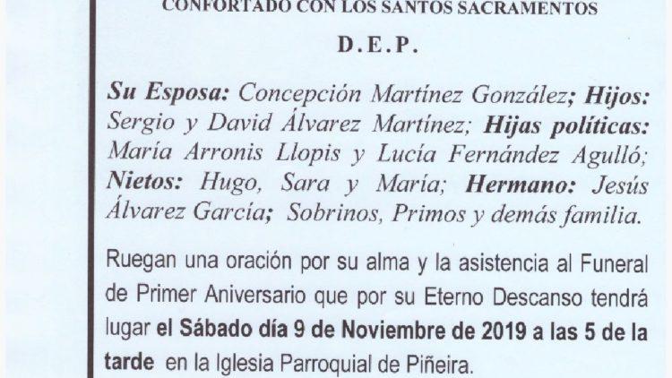 PRIMER ANIVERSARIO DE DON ILDEFONSO JOSE ALVAREZ GARCIA