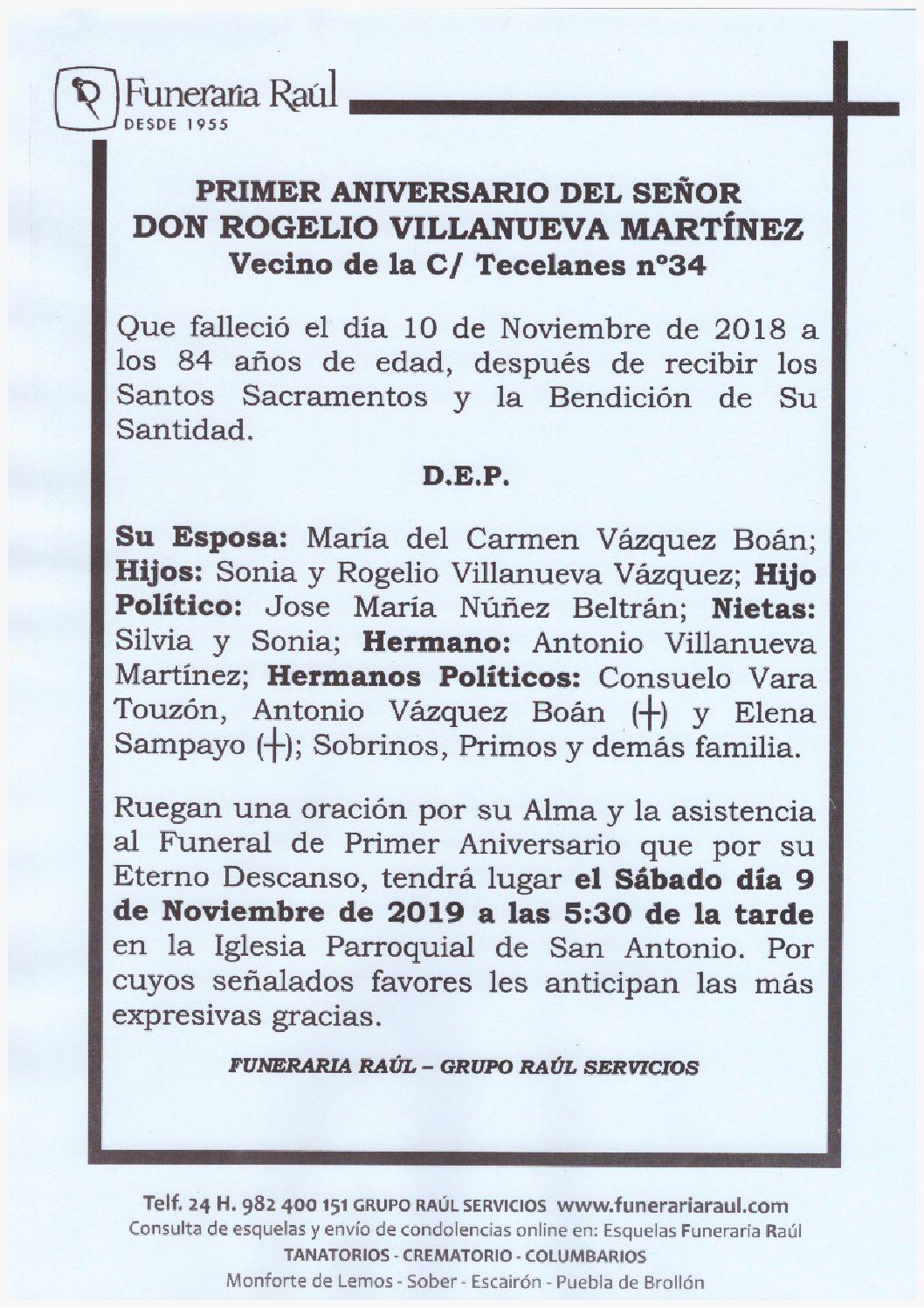 PRIMER ANIVERSARIO DE DON ROGELIO VILLANUEVA MARTINEZ