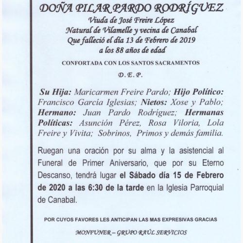 PRIMER ANIVERSARIO DE DOÑA PILAR PARDO RODRIGUEZ