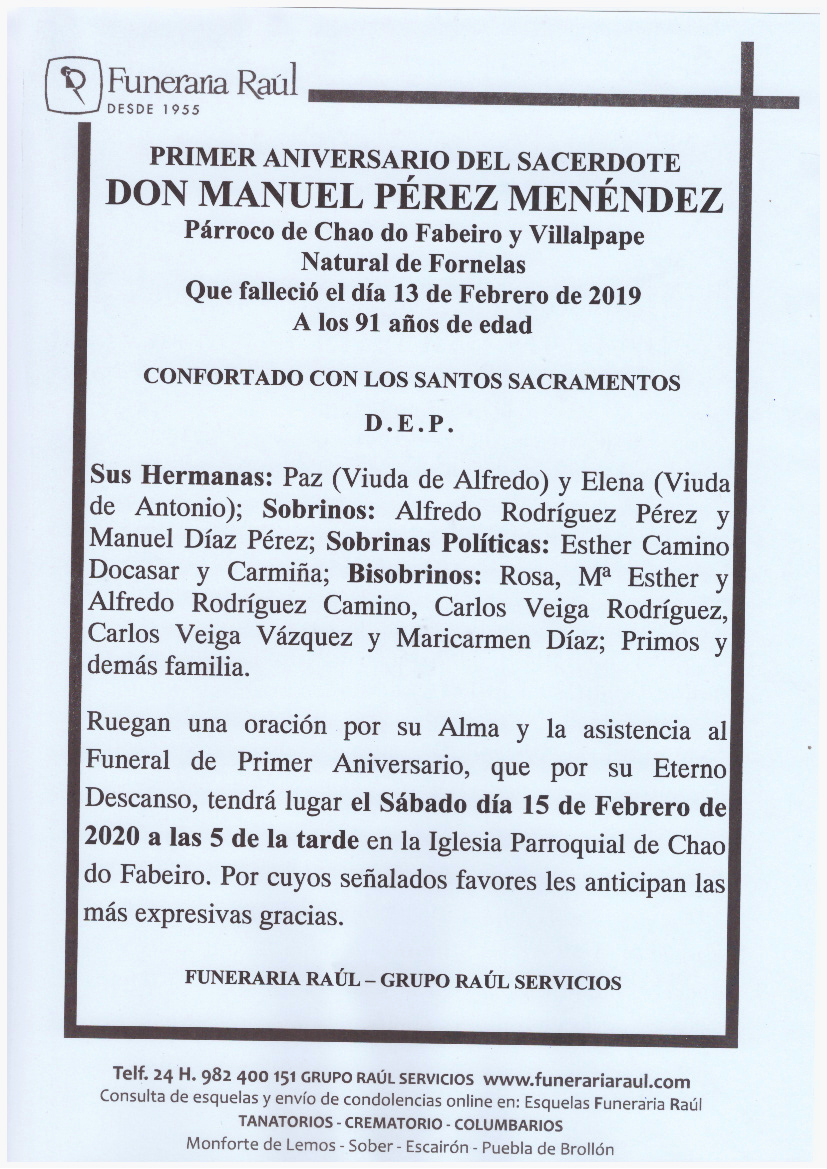 PRIMER ANIVERSARIO DEL SACERDOTE DON MANUEL PEREZ MENENDEZ