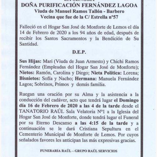 DOÑA PURIFICACION FERNANDEZ LAGOA