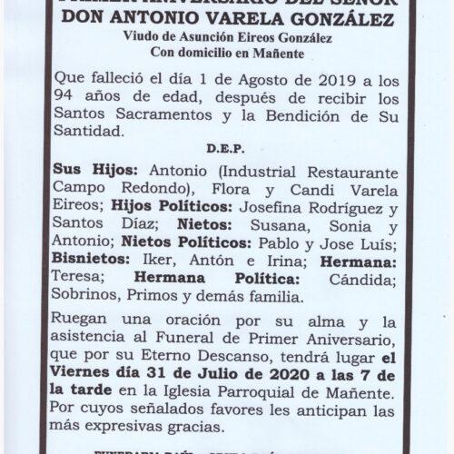 PRIMER ANIVERSARIO DE DON ANTONIO VARELA GONZALEZ